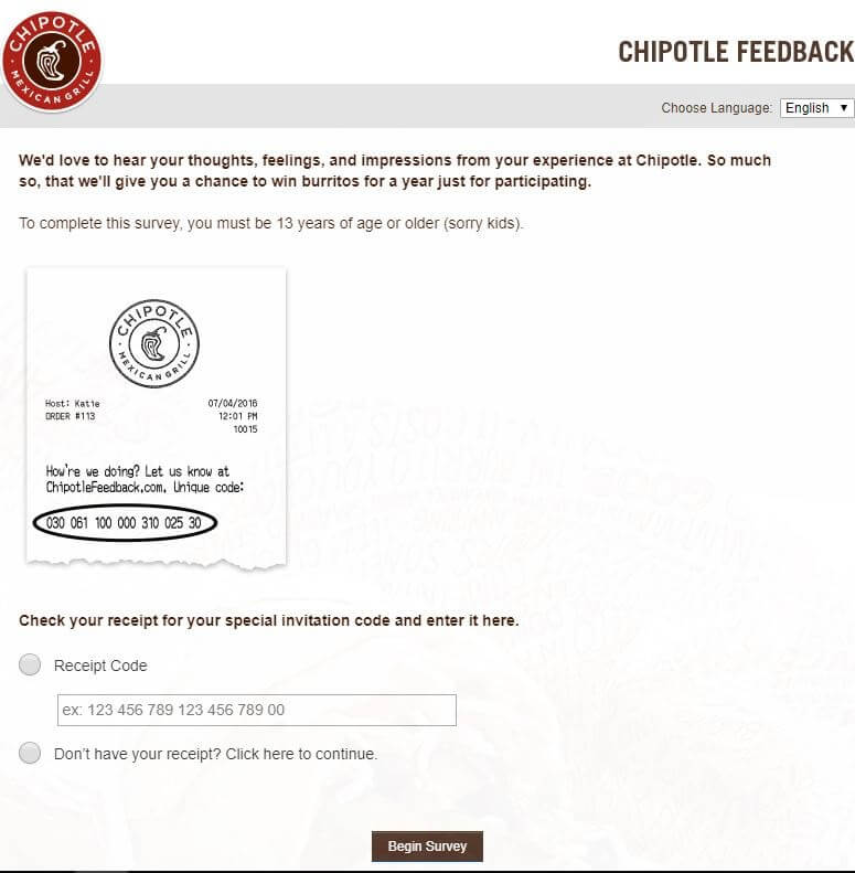 chipotle survey